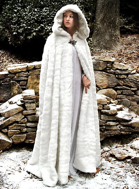 Furry White Cape With Hood