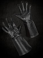 Schwarze Handschuhe mit Ärmelstulpen