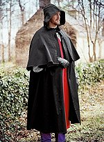 Black Cloak with Shoulder Cape