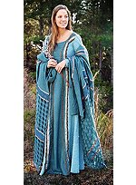 Turquoise Dress with Shawl