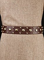 Brown Leather Belt with Brass Studs