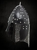 Leather Helmet with Mail Neck Guard