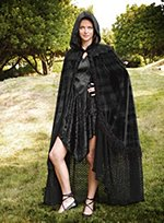 Black Velvet Cape with Lace Hem