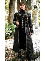 Long Black Coat with Hussar Braid