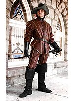 Brown Leather Doublet with Gold Trim