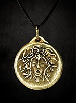 Medusa Pendant with Leather Cord