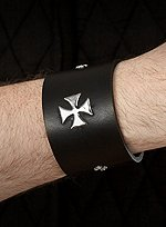 Black Leather Armband with Metal Crosses
