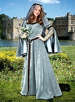 Silver Gray Medieval Dress with Wimple