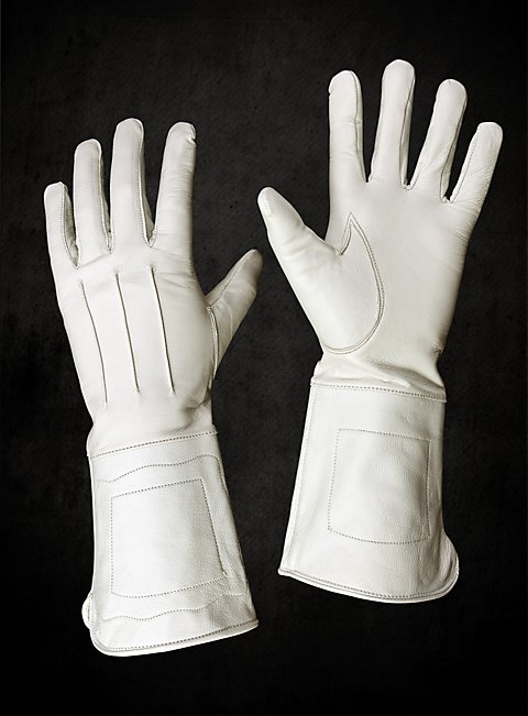 What Is Leather Made Of >> White Leather Gauntlets