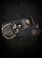 Black Long Belt with Brass Plates
