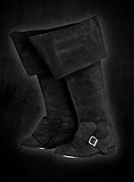 Black Suede Boots with Cuff and Buckle
