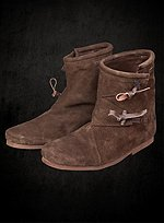 Brown Suede Half Boots with Toggle Closure