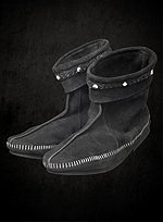 Black Suede Half Boots with Stitching