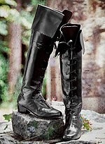 Knee High Boots Black Leather with Cuff