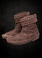 Brown Suede Half Boots with Stitching