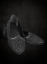 Black Beaded Slippers