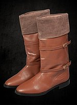 Brown Cuffed Boots with Buckles