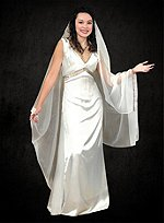 White Satin Priestess Dress with Veil