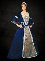 Blue Renaissance Dress with Trumpet Sleeves