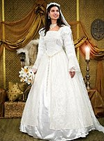 Satin Wedding Dress with Lace