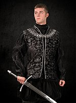 Tudor Jerkin Black & Silver Damask
