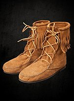 Brown Suede Moccasin Half Boots with Fringe