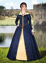 Late Renaissance Court Dress Blue with Skirt