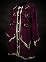 Wine Red Dress Coat with Gold Braid