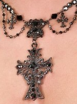 Blackened Necklace with Cross Patonce