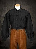 Schwarzes Baumwollhemd mit Knöpfen