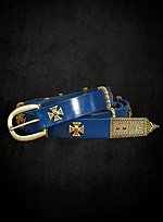 Narrow Blue Belt with Maltese Cross