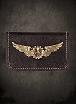 Steampunk Leather Wallet with Brass Wings