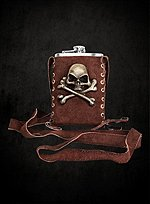 Pirate Hip Flask with Pouch brown